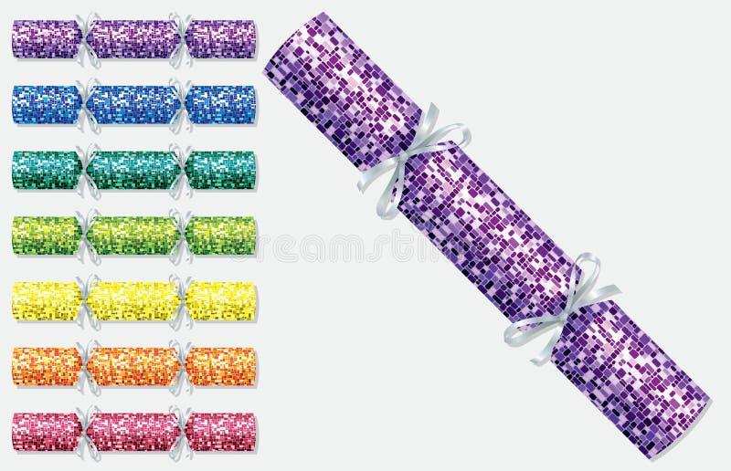Retro cracker luminosi di Natale illustrazione di stock