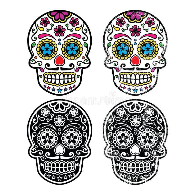 Retro cranio messicano dello zucchero, icone di Dia de los Muertos messe illustrazione di stock