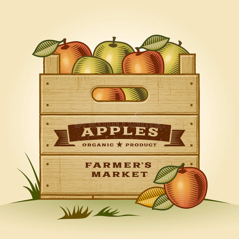 Download Retro crate of apples stock vector. Image of healthy - 32368880