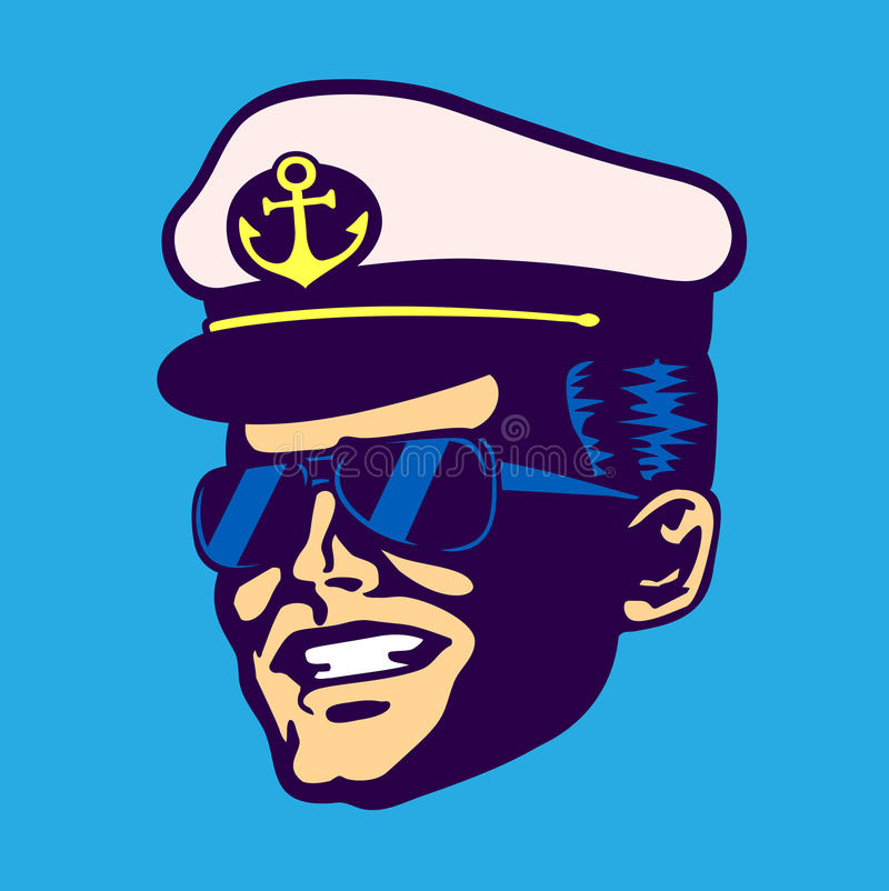 Retro cruise ship captain head with hat and aviator glasses. Smiling face vintage illustration vector illustration