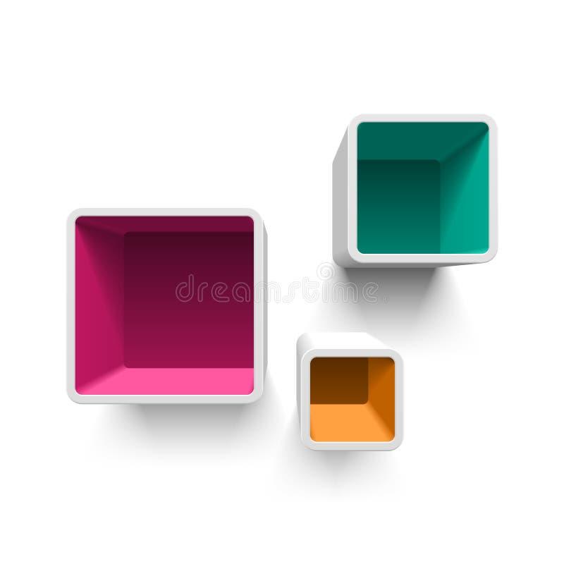 Retro cube shelves. Illustration on white stock illustration