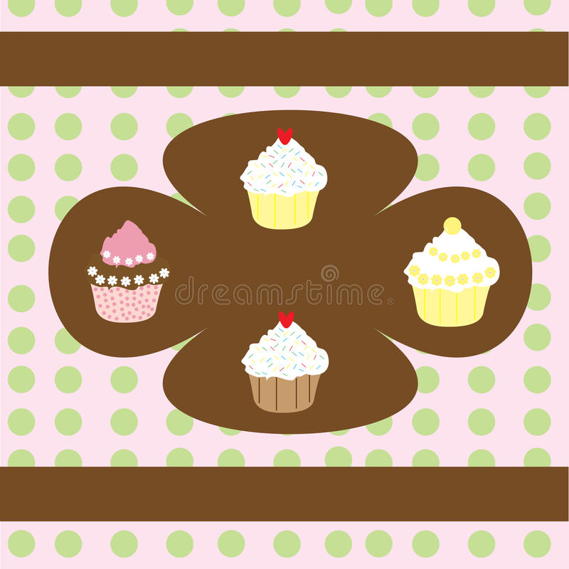 Retro Cupcakes Background. Pretty pink and green polka dot background with cute cupcakes stock illustration