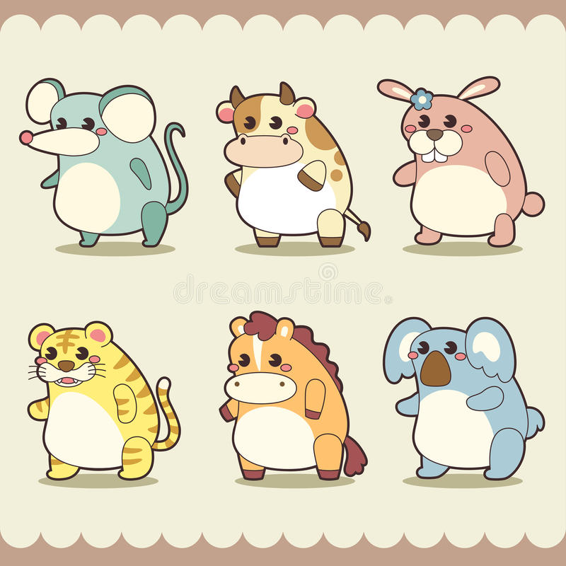 Download Retro cute animals set stock vector. Image of cheerful - 32196457