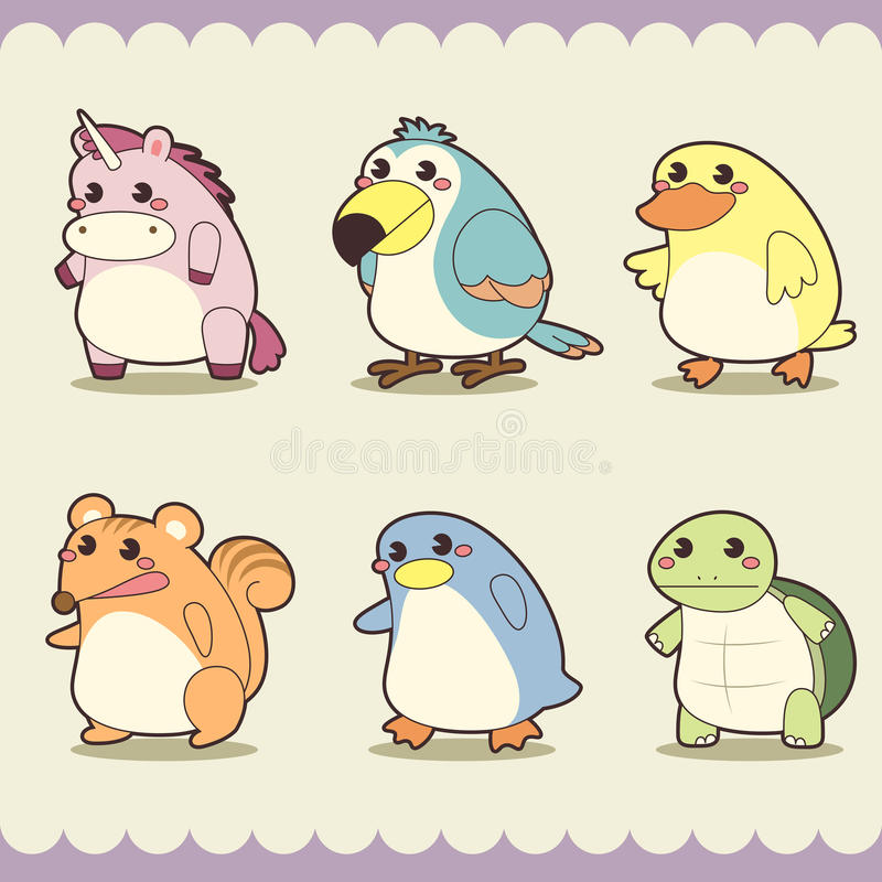 Download Retro cute animals set stock vector. Image of cute, isolated - 32196465