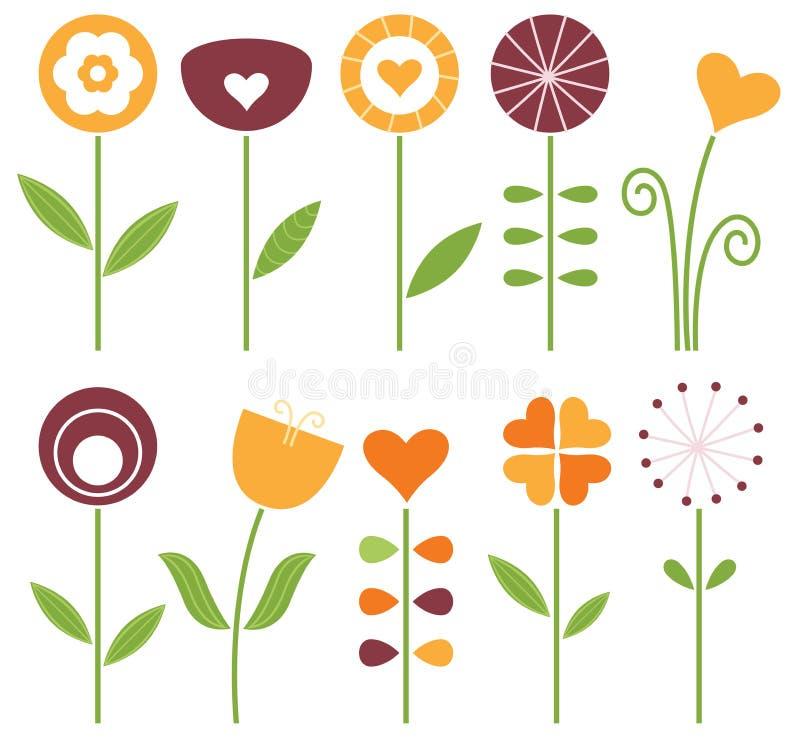 Retro cute spring flowers set vector illustration