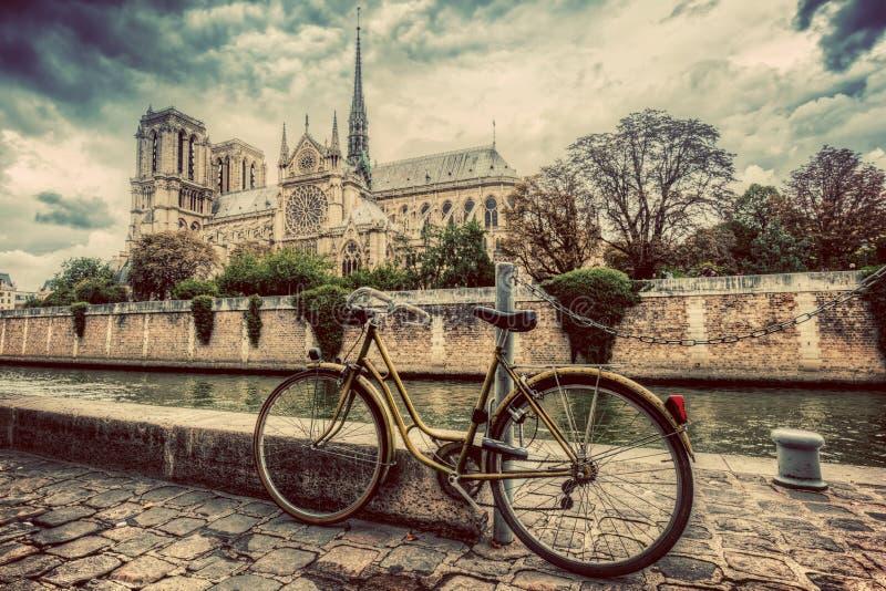 Retro cykel bredvid Notre Dame Cathedral i Paris, Frankrike Tappning royaltyfria foton