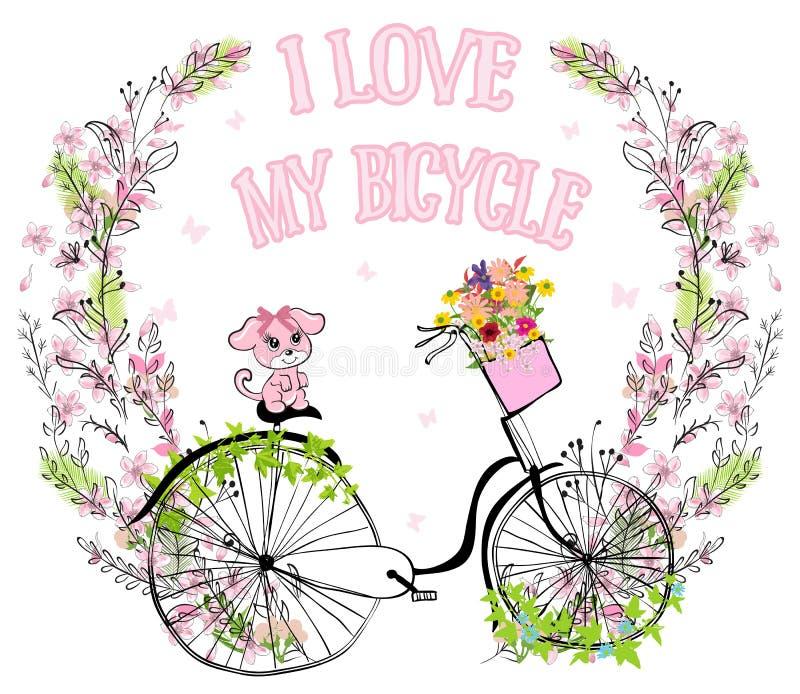 Retro cykel för gullig vektor för damer med hunden och korgen mycket av vektor illustrationer