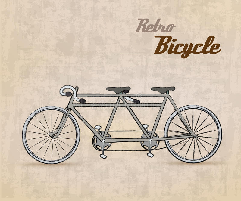 Retro cykel för tappning royaltyfri illustrationer