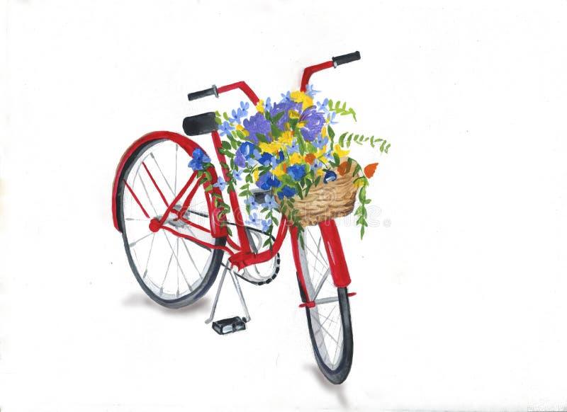 Retro cykel med blommakorgen Blommor och fåglar royaltyfri illustrationer