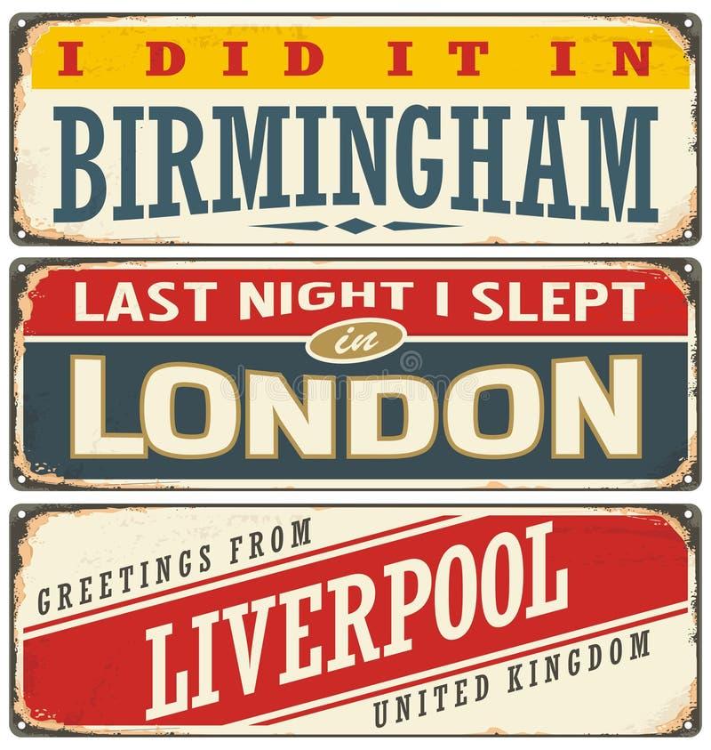 Retro cyna znaka kolekcja z UK miast imionami royalty ilustracja