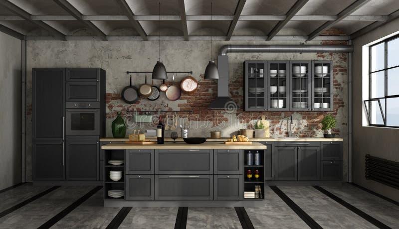 Retro czarna kuchnia w starym pokoju ilustracji