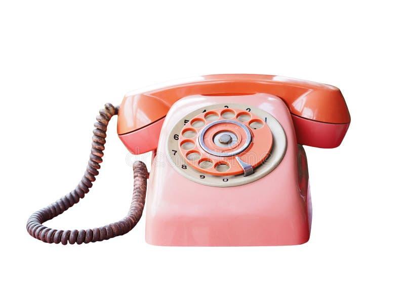 Retro czerwień telefon odizolowywający na białym tle obraz royalty free