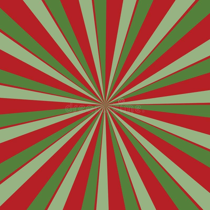 Retro czerwieni i zieleni sunburst tło w boże narodzenie kolorach z promieniowym pasiastym wzorem royalty ilustracja