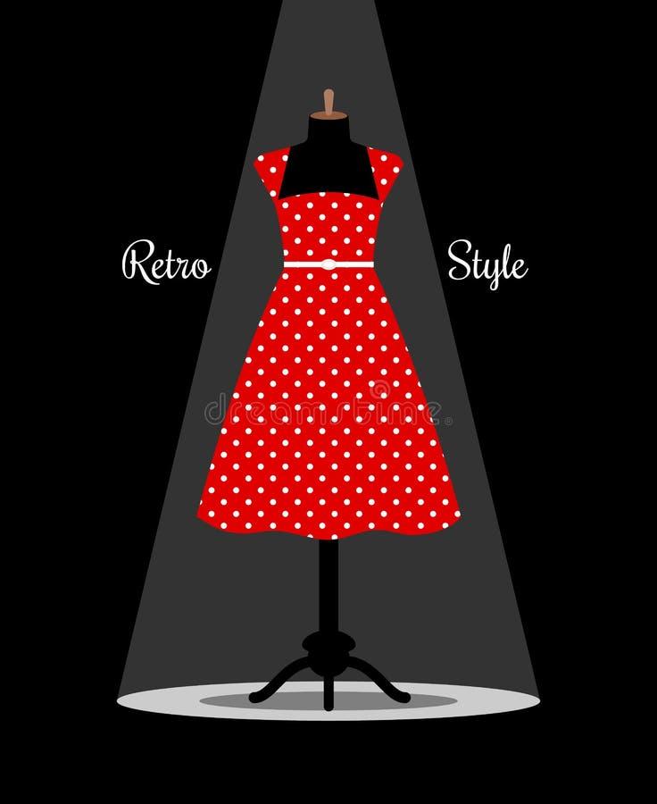 Retro czerwieni suknia na manikin ilustracja wektor