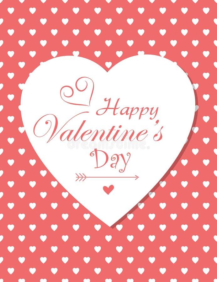 Retro czerwona polek serc valentines dnia karta royalty ilustracja