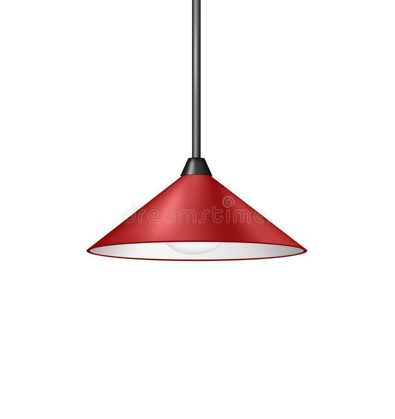 Retro czerwona wisząca lampa ilustracja wektor