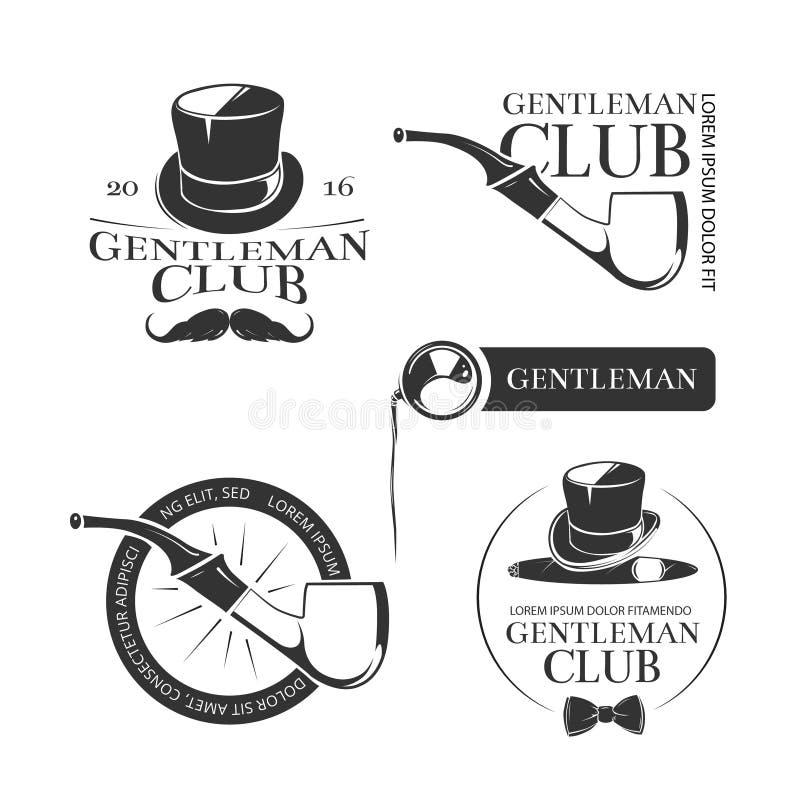 Retro dżentelmenu klubu wektorowi logowie, emblematy, etykietki, odznaki ilustracja wektor