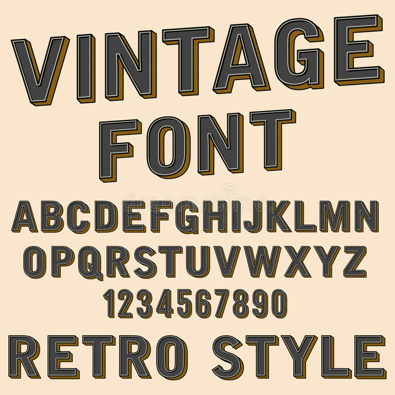 Retro 3d alfabet en het aantal ondertekenen, oude typografiestijl, de vectorbrieven van de beeldverhaaldoopvont royalty-vrije illustratie