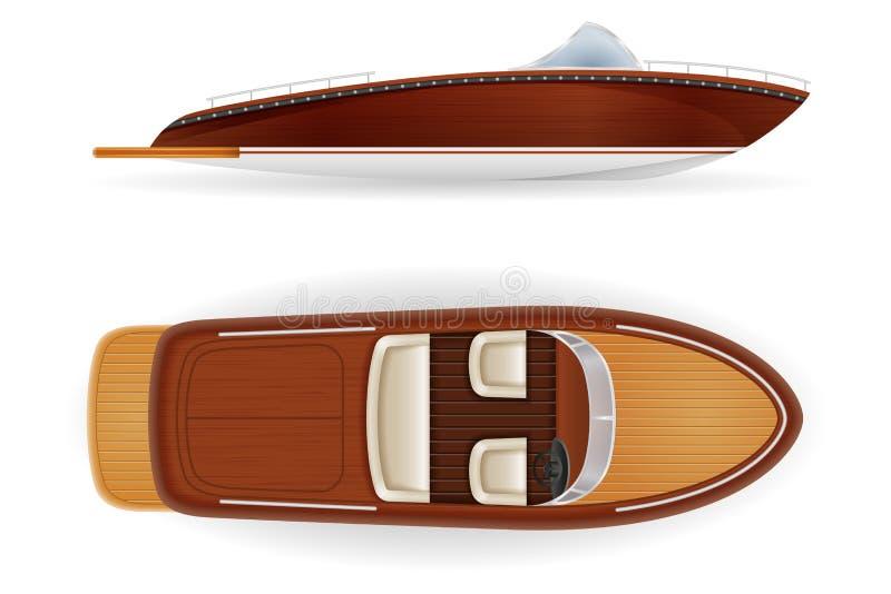 Retro d'annata dell'imbarcazione a motore vecchio ha fatto dell'illustrazione di legno di vettore royalty illustrazione gratis