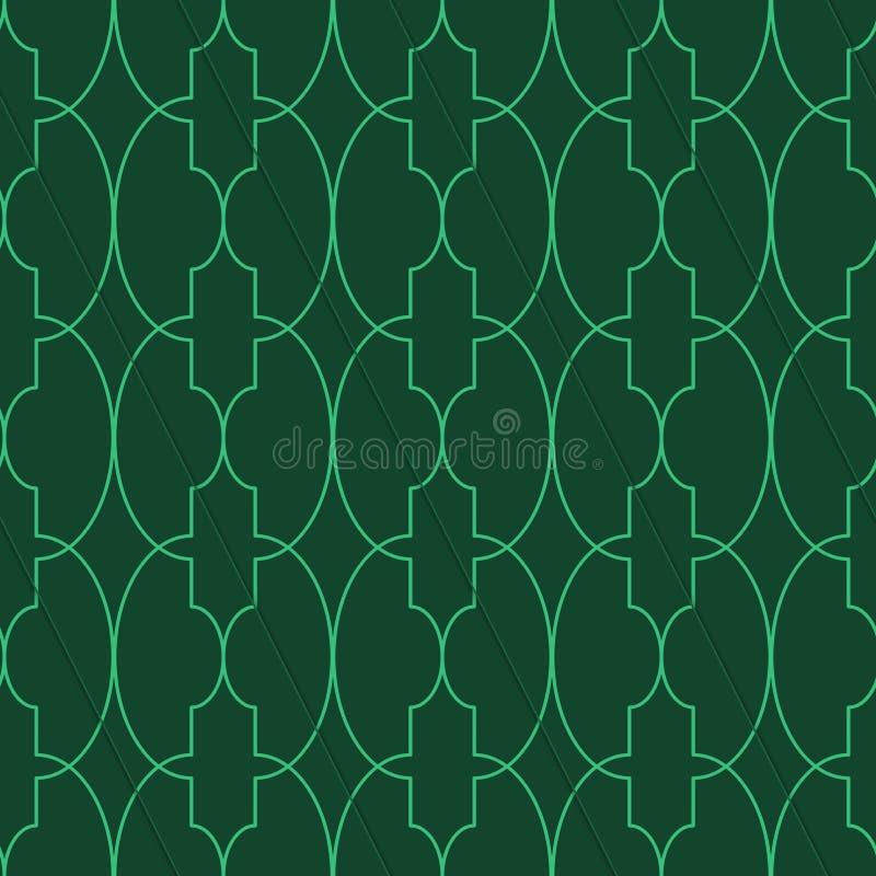 Retro- 3D grünes großes ovales Marrakesch vektor abbildung