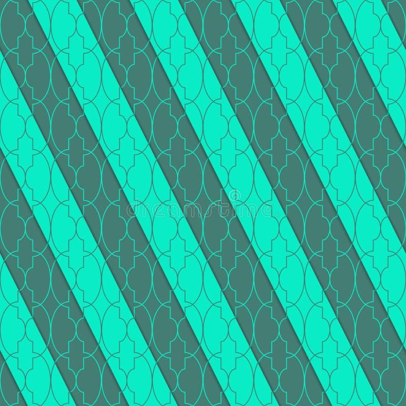 Retro- 3D grünes ovales Marrakesch vektor abbildung