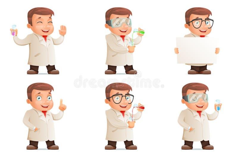 Retro 3d naukowa epruwetki Młode Śliczne ikony Ustawiają kreskówka projekta charakteru wektoru ilustrację ilustracja wektor