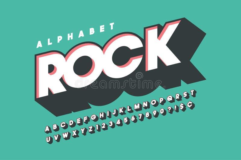 Retro 3d ontwerp van de vertoningsdoopvont, alfabet, brieven stock illustratie