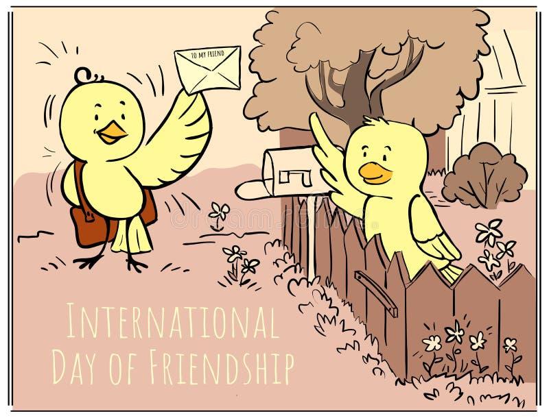 Retro dag för hälsa kort av brevbäraren - klotterfågelbrevbäraren kommer med stock illustrationer