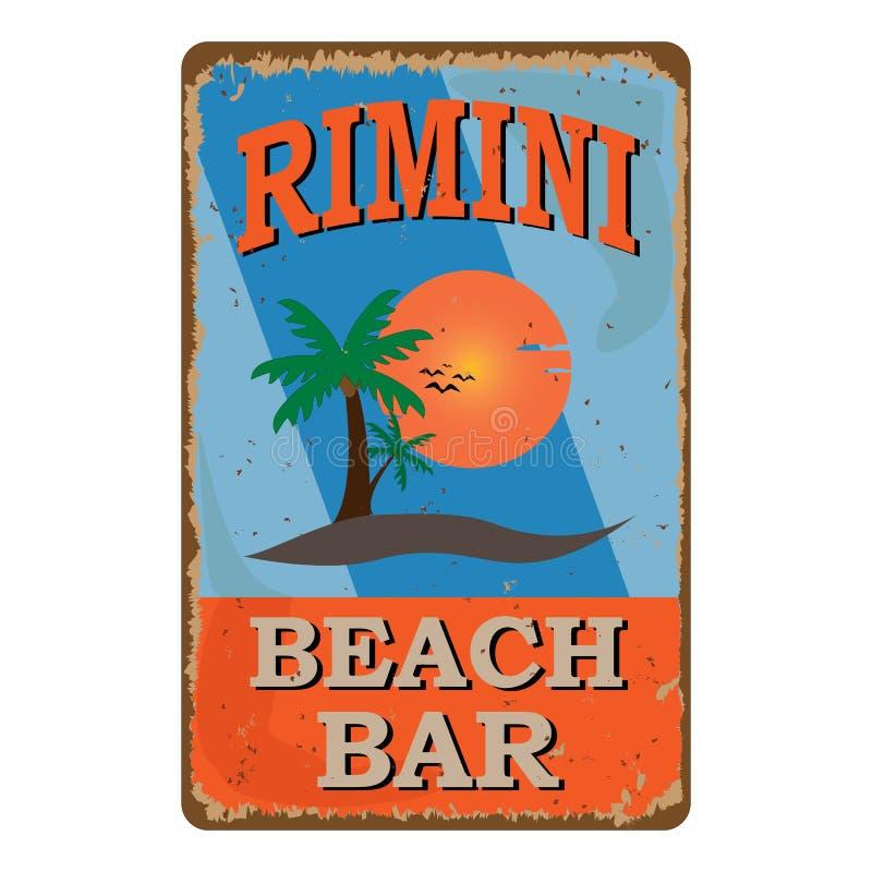 Rimini Beach bar retro damaged rusty sign board. Vintage advertisement for tropical cafe bar. Sun, summer and sea theme. Retro damaged rusty sign board. Vintage stock illustration