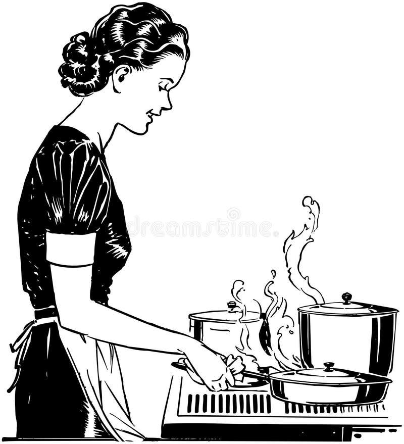Retro Dame Cooking stock illustratie