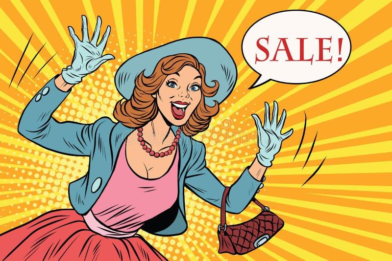 Retro- Dame genießt den Verkauf vektor abbildung