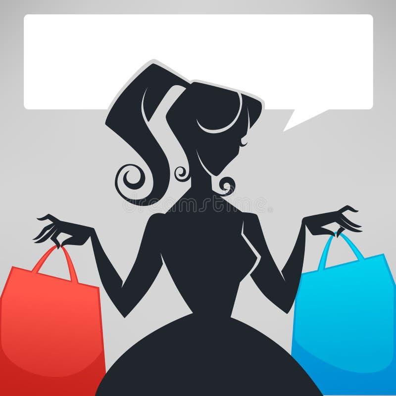Retro dame, het winkelen zakken en toespraakbel stock illustratie