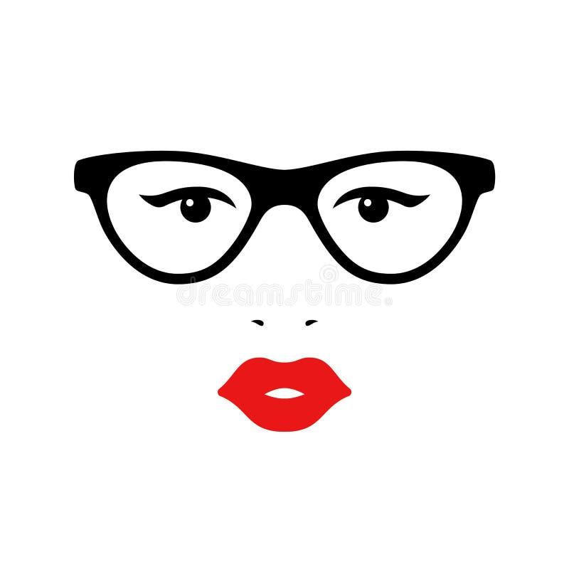 Retro dame met glazen Het gezicht van de vrouw Boutiqueconcept Vector stock illustratie