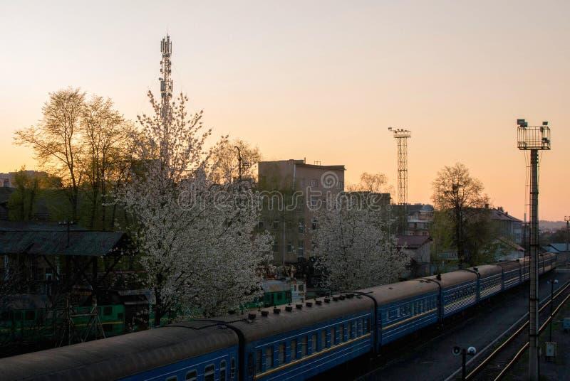 Retro- Dampfzug reist von der Station ab lizenzfreies stockbild