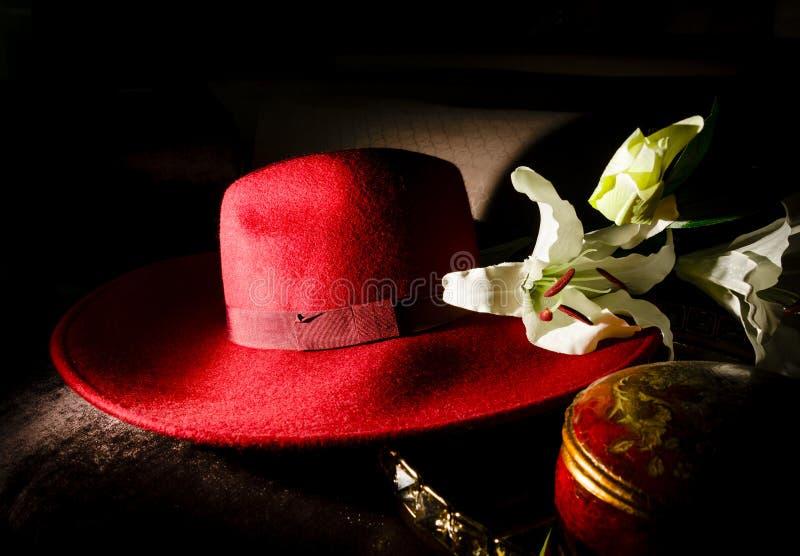 Retro dams hatt med tygblommagarnering royaltyfri bild