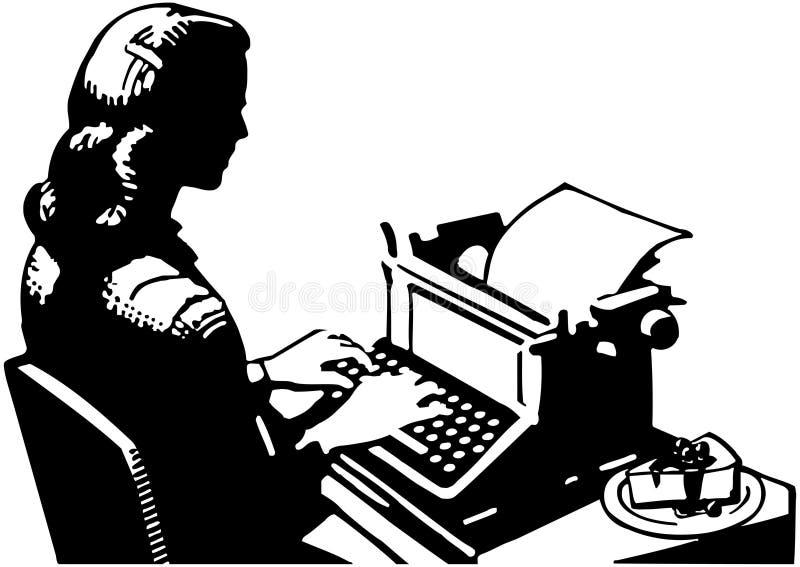 Retro damy maszynistka ilustracja wektor