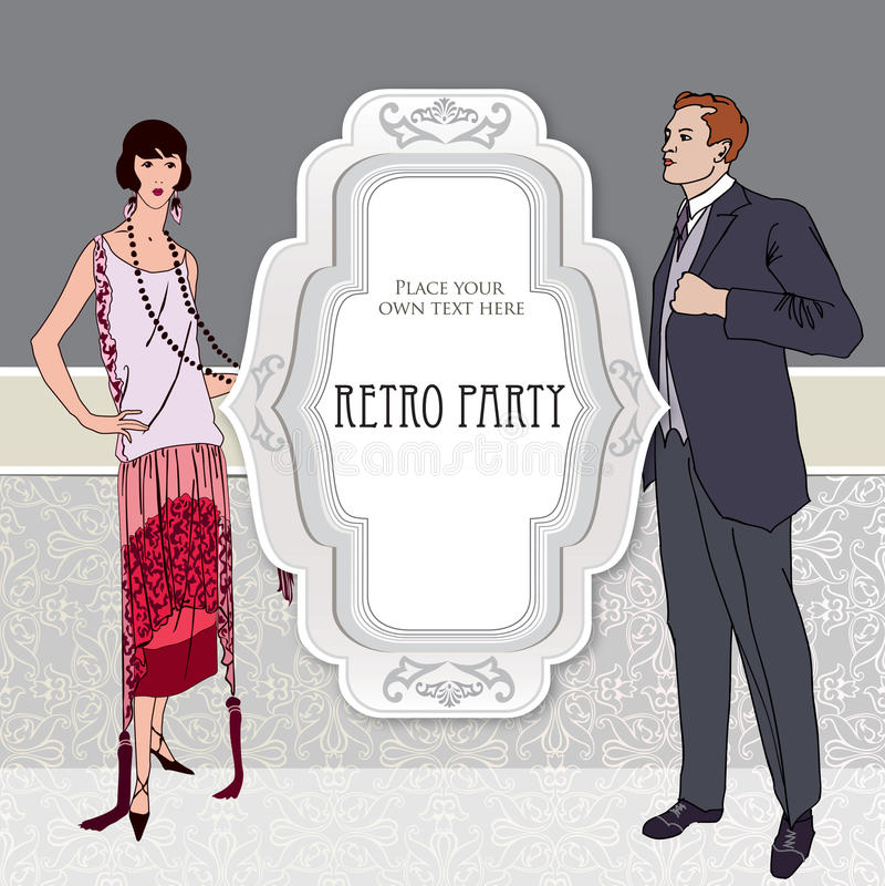 Retro dancingowy tło. Para na przyjęciu (1930s projektują) ilustracji