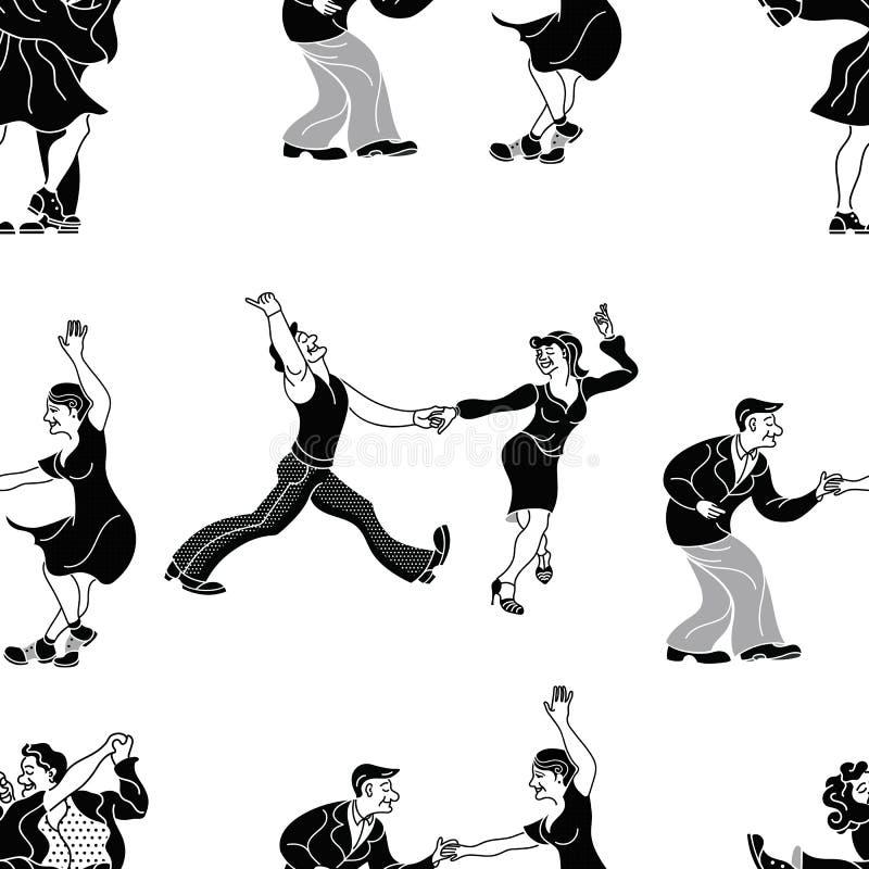 Retro dans för modell Dansparkontur Sömlös retro kontur Folk för tappning för charlestonpartidans på w royaltyfri illustrationer