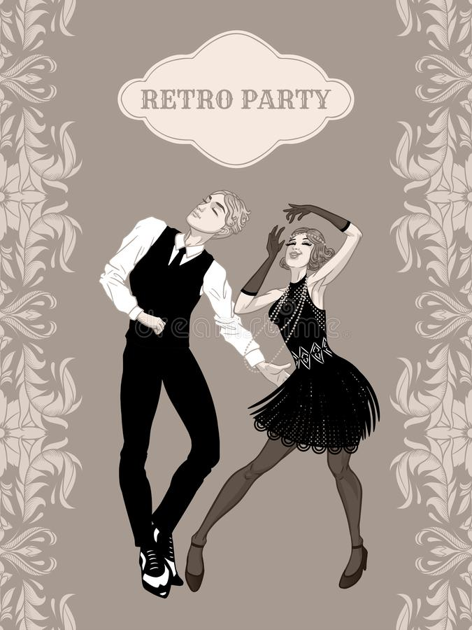 Retro dans för stil för 20-tal för för för partikort, man och kvinna iklädd, stilig grabb för klaffflickor i tappningdräkten, tju royaltyfri illustrationer