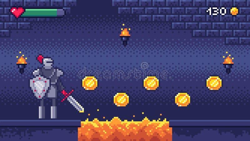Retro dataspelar jämnar Teckenet för krigaren för biten för plats 8 för PIXELkonstvideospelet samlar guld- mynt, PIXEL som s stock illustrationer
