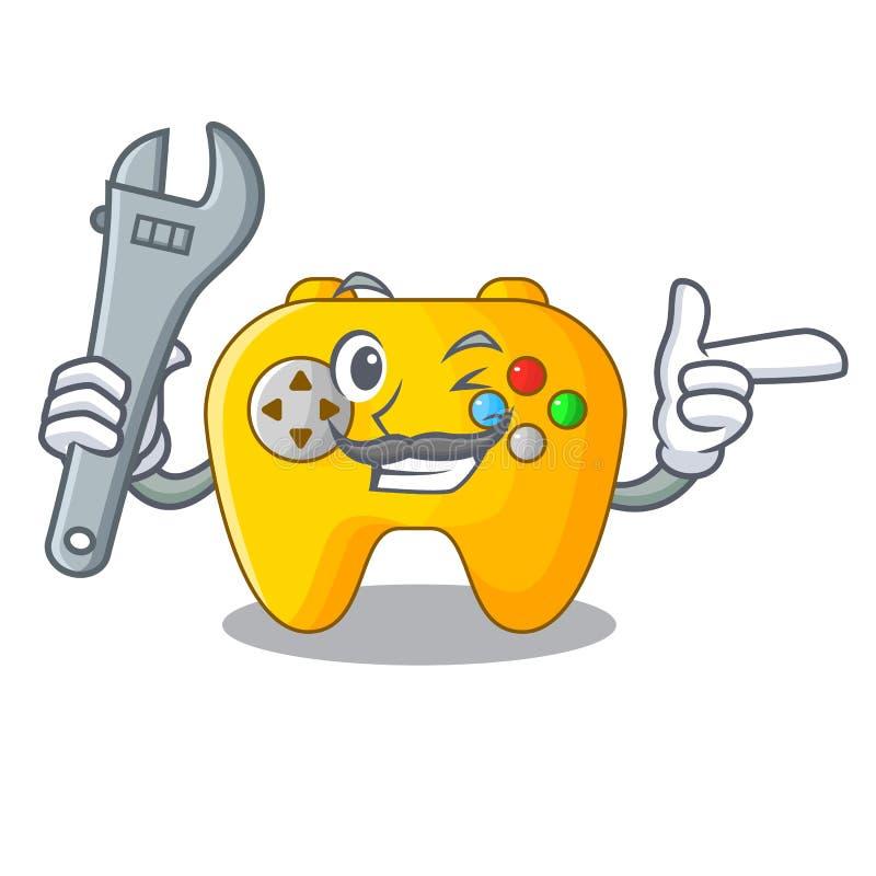 Retro dataspelkontroll för mekaniker på maskot royaltyfri illustrationer