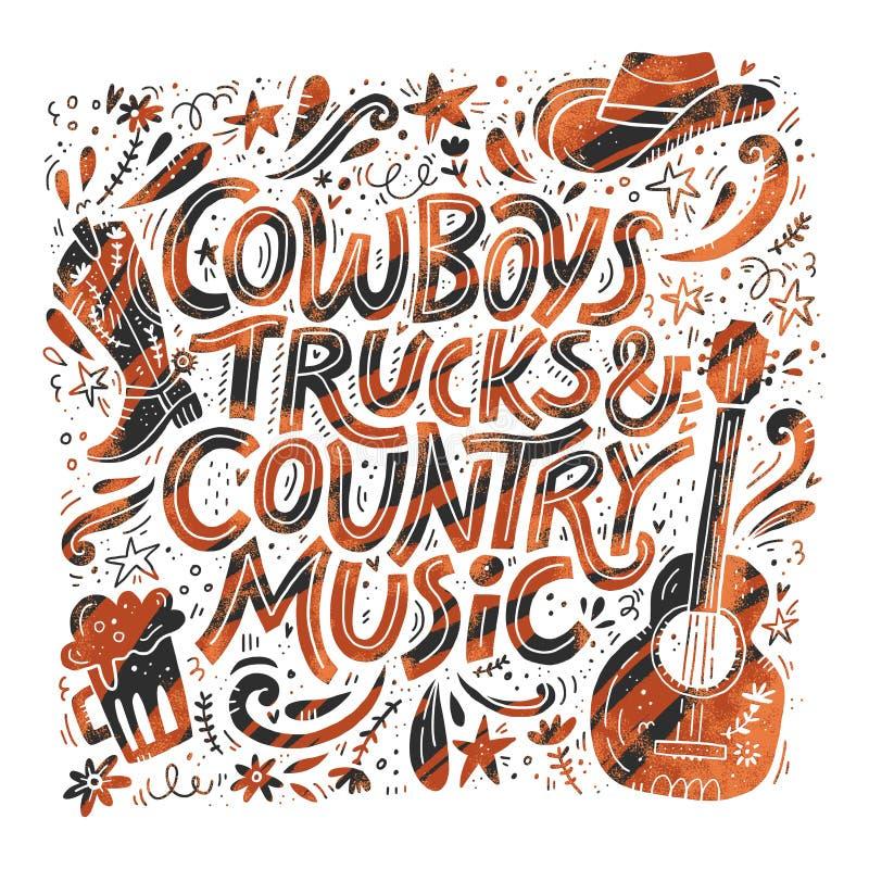 Retro de affiche vectormalplaatje van het country muziekfestival vector illustratie