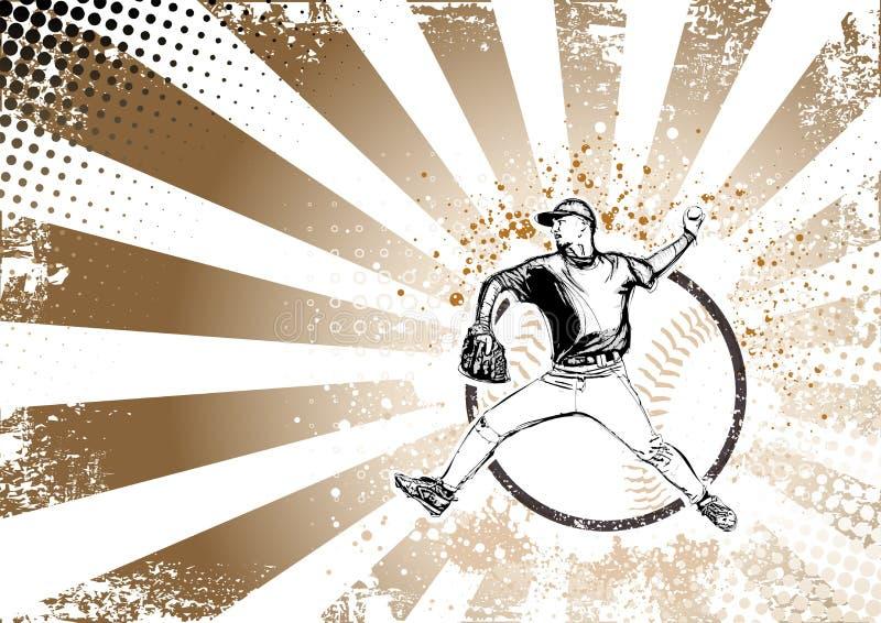 Retro de afficheachtergrond van het honkbal vector illustratie