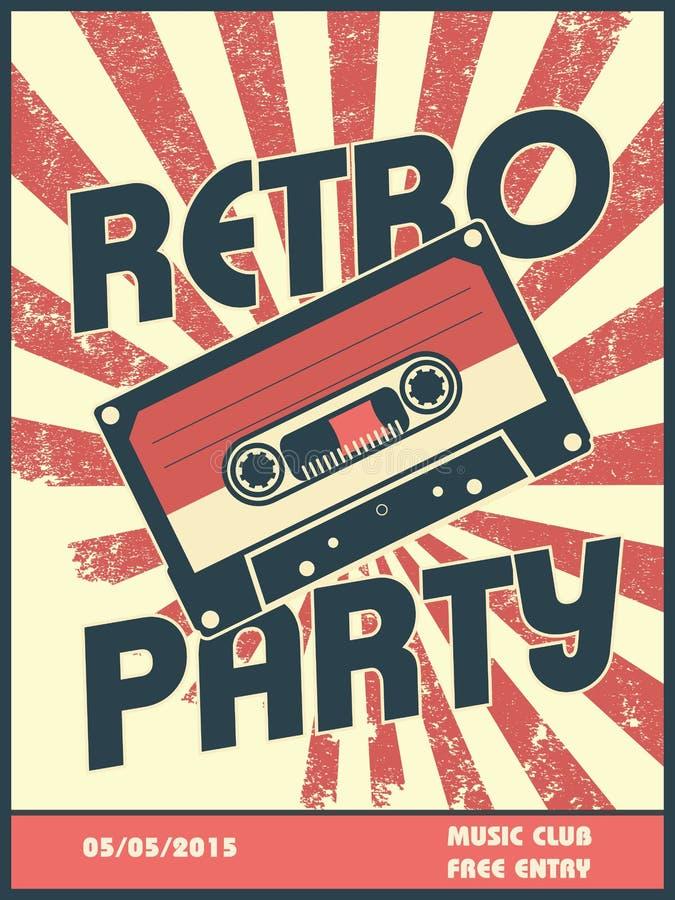 Retro de afficheontwerp van de partijmuziek met uitstekende stijl stock illustratie