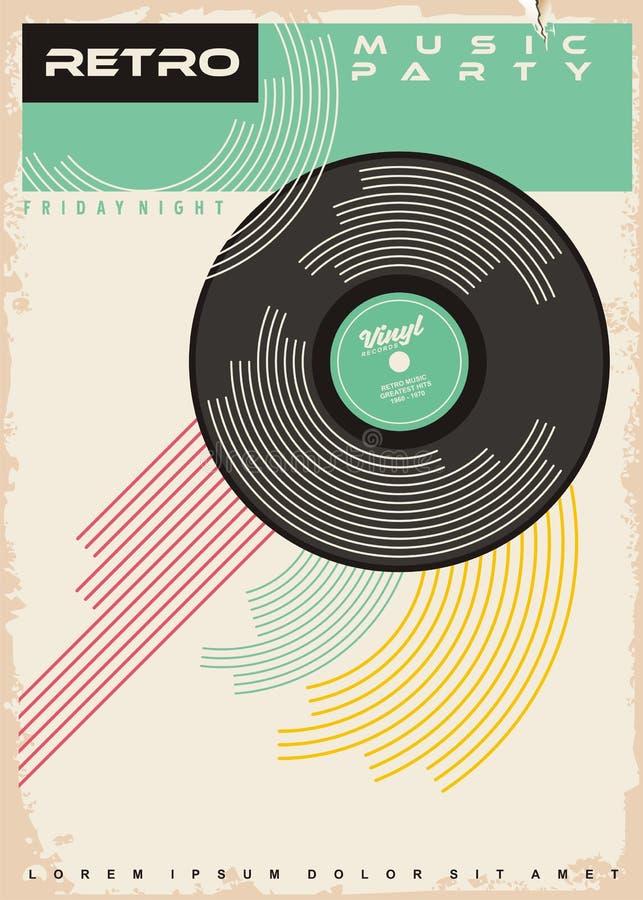 Retro de afficheontwerp van de muziekpartij royalty-vrije illustratie
