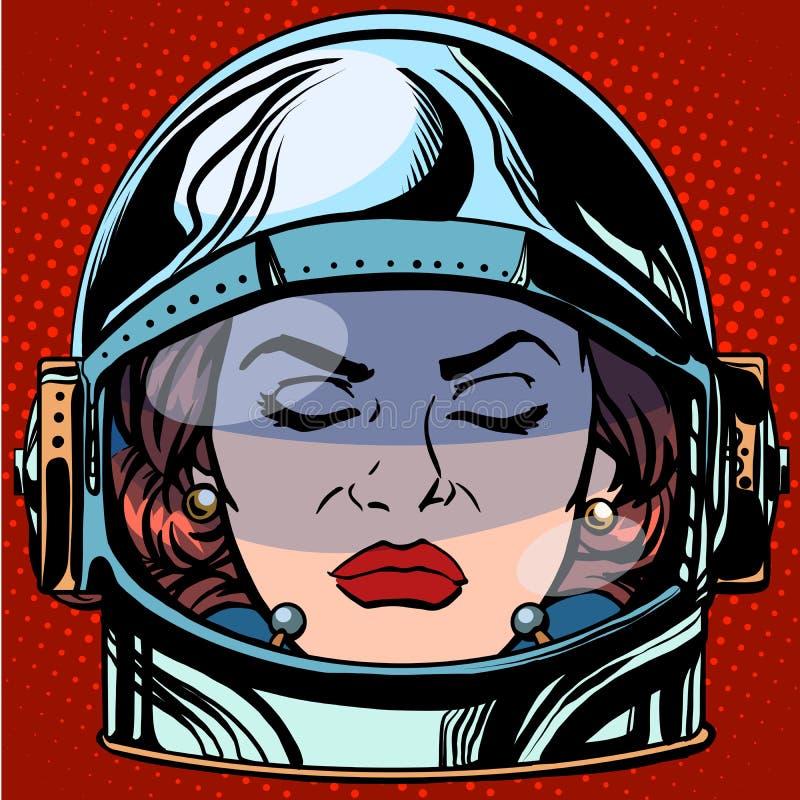 Retro de astronaut van de het gezichtsvrouw van Emoji van de Emoticonwoede royalty-vrije illustratie