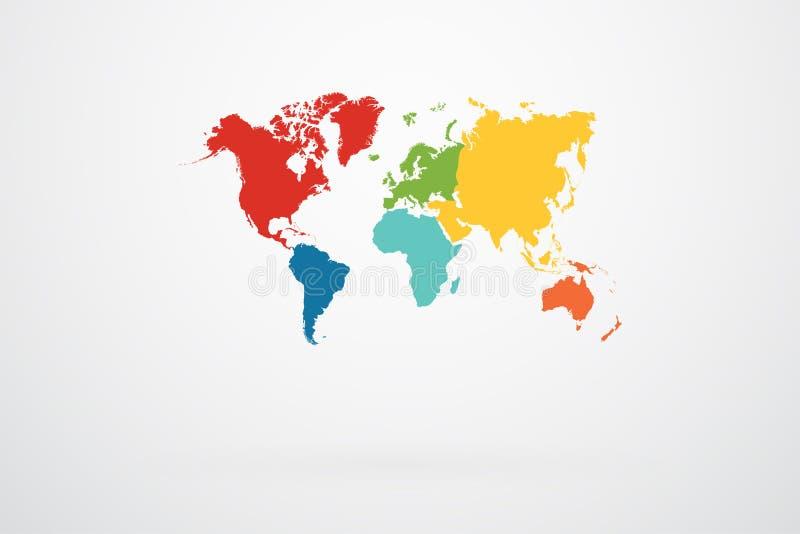 Retro de Continentenvector van de Wereldkaart royalty-vrije illustratie