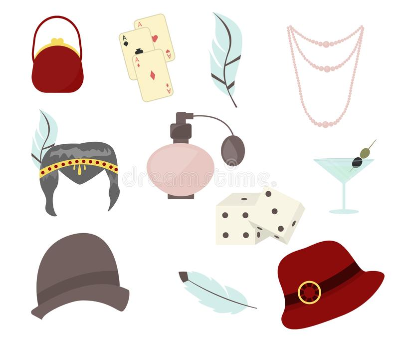 Retro de jaren '30toebehoren van manierjaren '20 met vrouwenhoeden, kleren, juwelen vectorillustratie vector illustratie