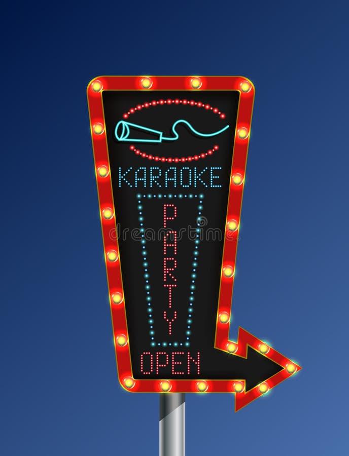 Retro de karaoke blauwe achtergrond van de pijl lichte banner royalty-vrije illustratie