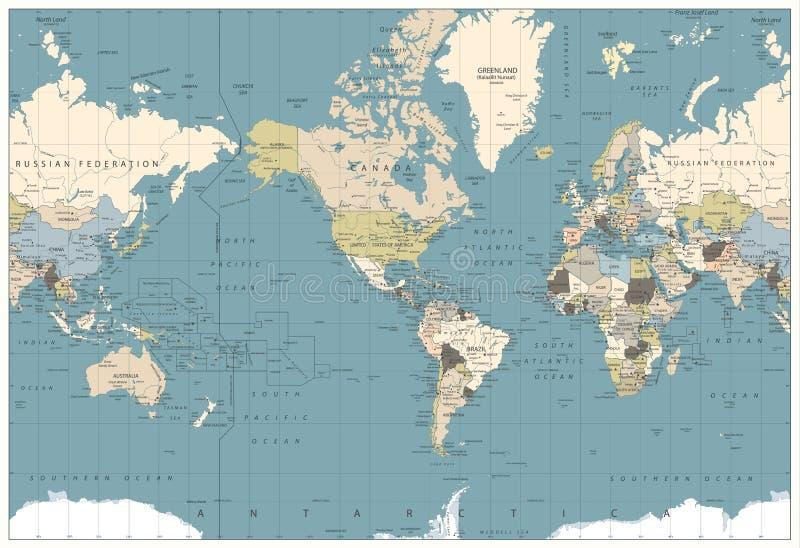 Retro de kleurenillustratie van de wereldkaart - Amerika centreerde Wereldkaart vector illustratie